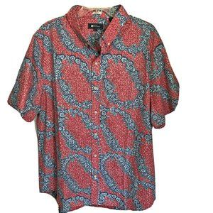Reyn Spooner Pansy Lei Tailored Cardinal Red Shirt